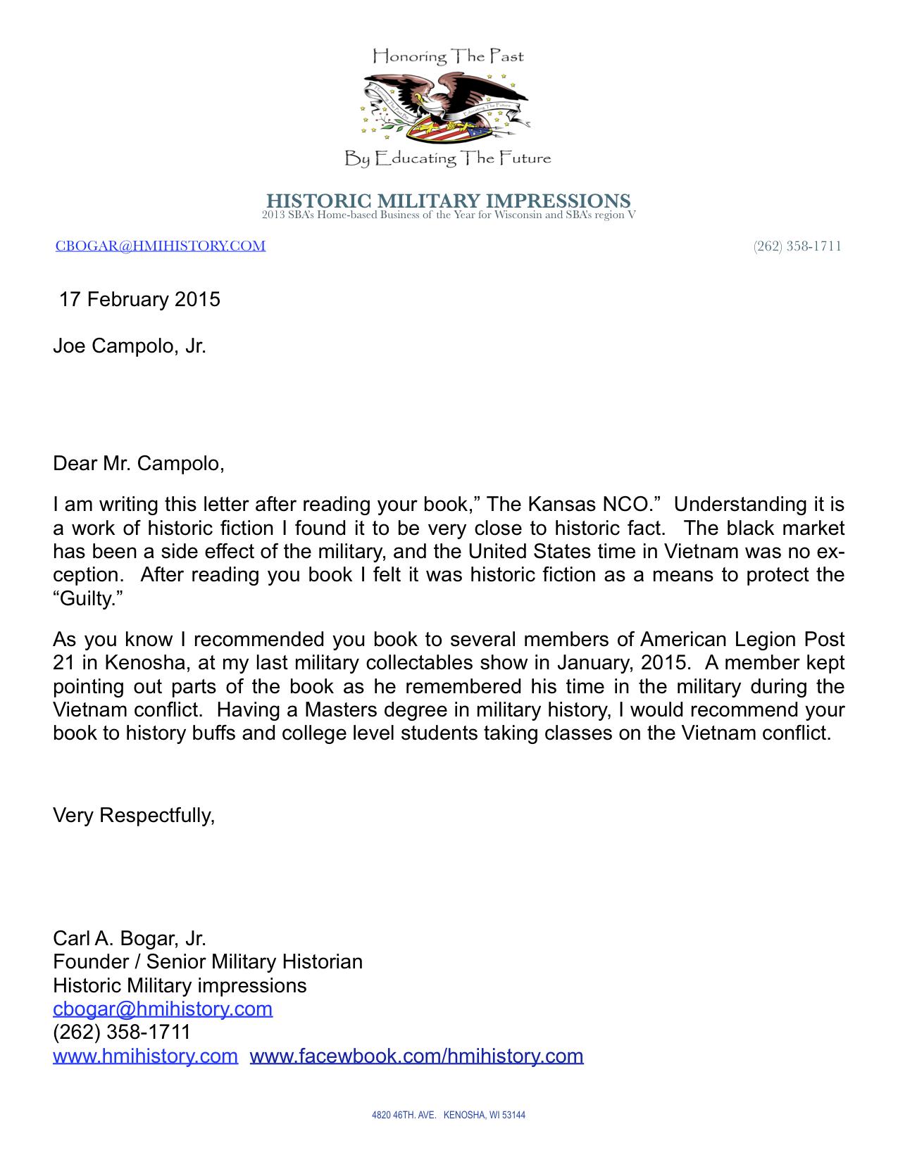 Joe Campolo Letter