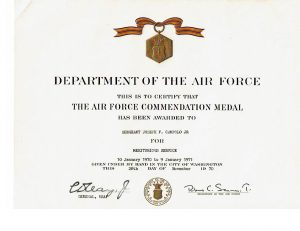 Joe's Air Force Commendation Medal and certificate for his service in Vietnam