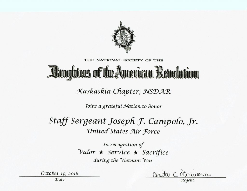 Joe's certificate from the Daughters of the American Revolution recognizing his service in the Vietnam War